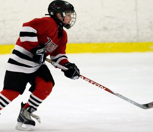youth hockey player play up a level